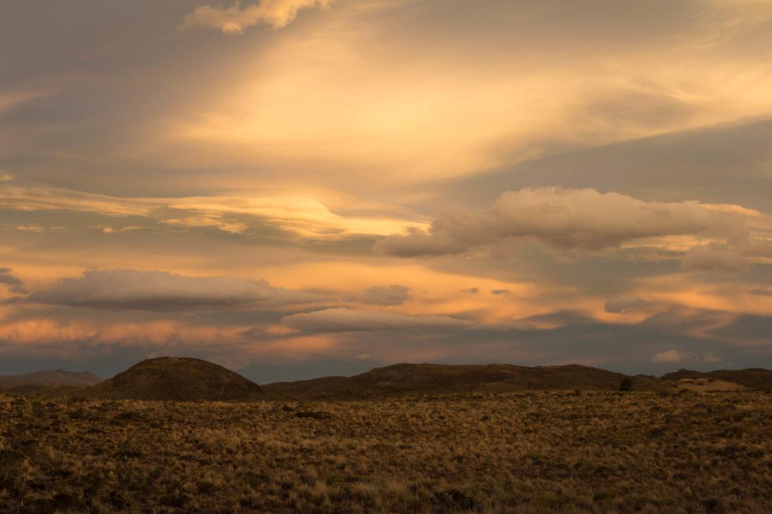 Coucher de soleil, vers Esquel, Ruta 40, Argentine