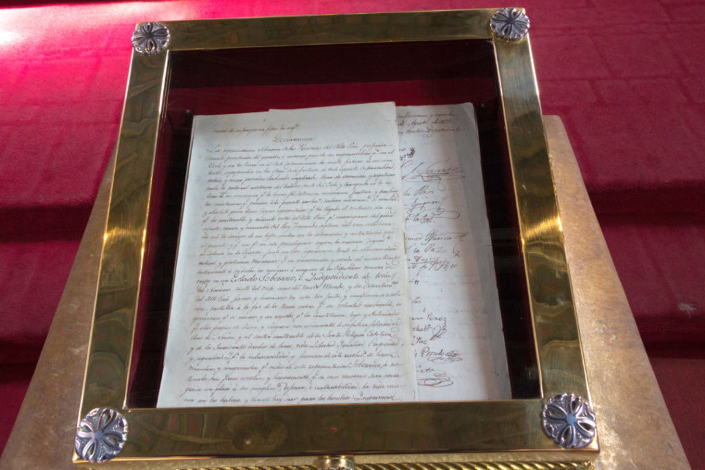 La déclaration d'indépendance de la Bolivie, signée en 1825