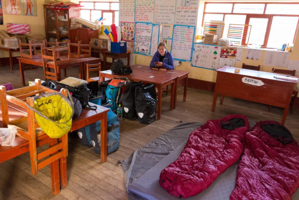 Kishuara - Campement dans la salle de classe
