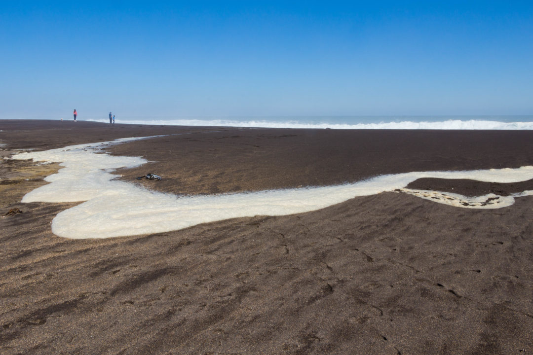 La côte chilienne, au sud de Valparaiso, est réputée pour ses belles vagues par les surfeurs