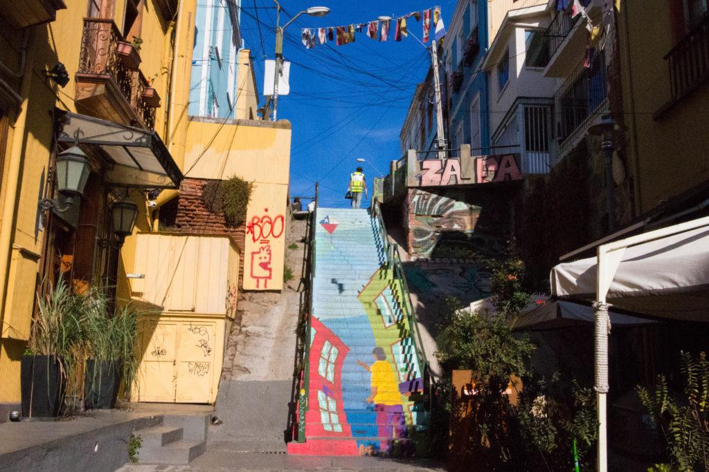 Mural sur un escalier, à Valparaiso