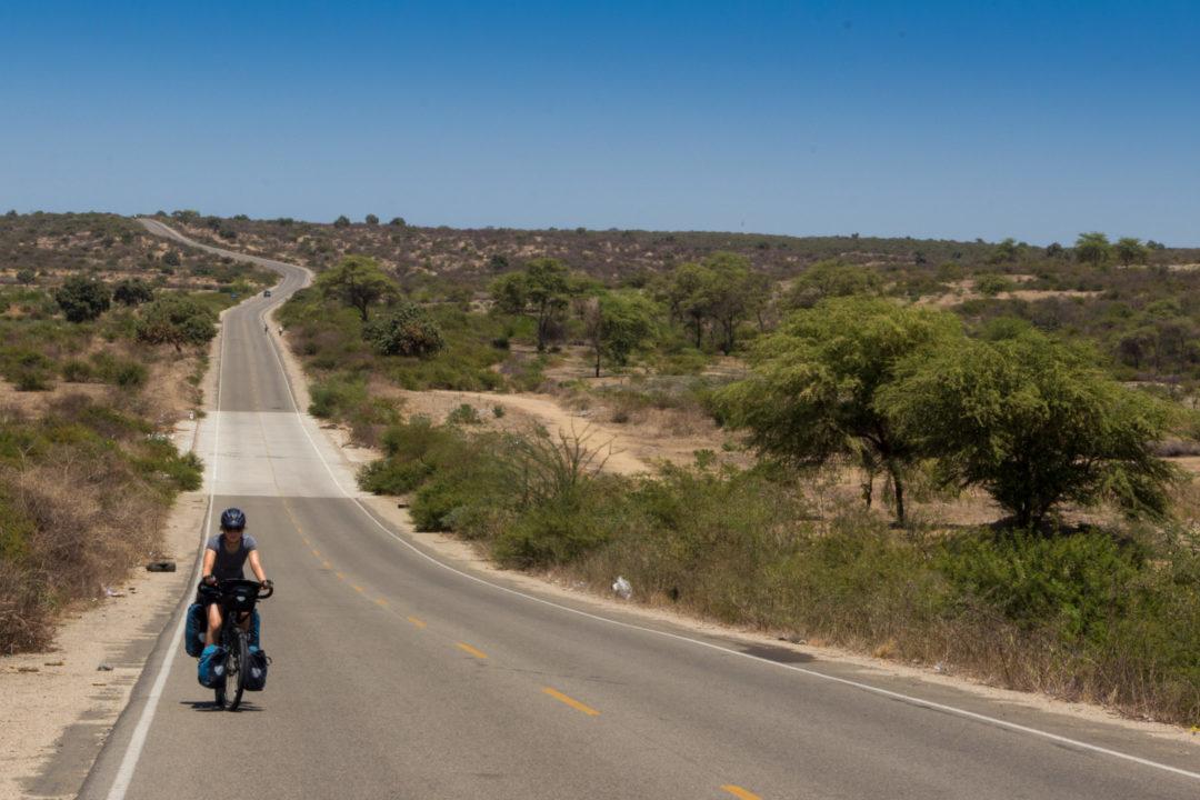 Entre Piura et Macara - Pauline sur la route