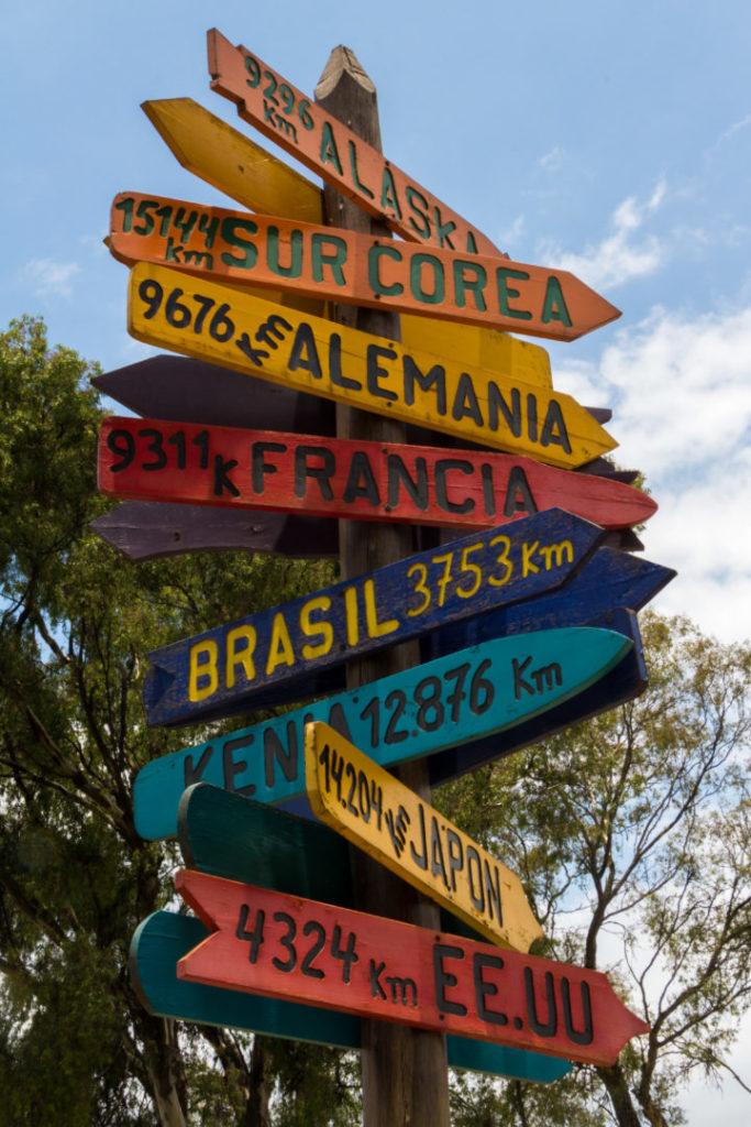 Ligne de l'Equateur - Panneaux distances