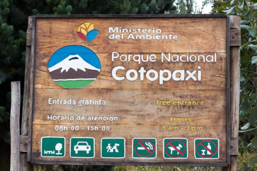 Parc national Cotopaxi - Panneau entrée